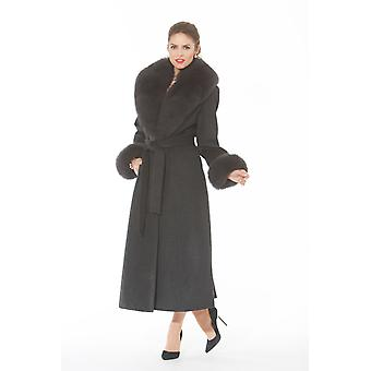 Charcoal Grey Womens Cashmere Coat with Fox Fur Collar and Cuffs