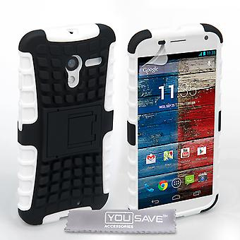 Yousave Accessories Motorola Moto X Stand Combo Case - White