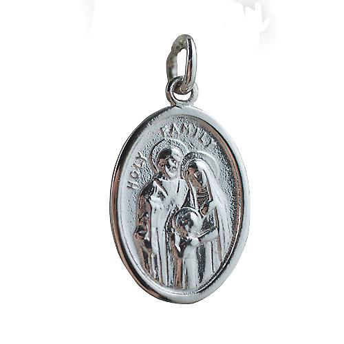 Silver 21x15mm oval St Ann Pendant