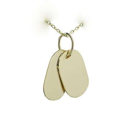 Two 9ct Gold 29x17mm plain rectangular ID Tags with Belcher chain