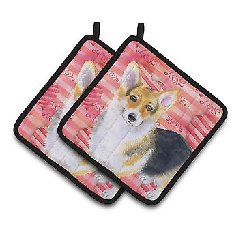 Carolines Treasures  BB9729PTHD Pembroke Corgi Love Pair of Pot Holders
