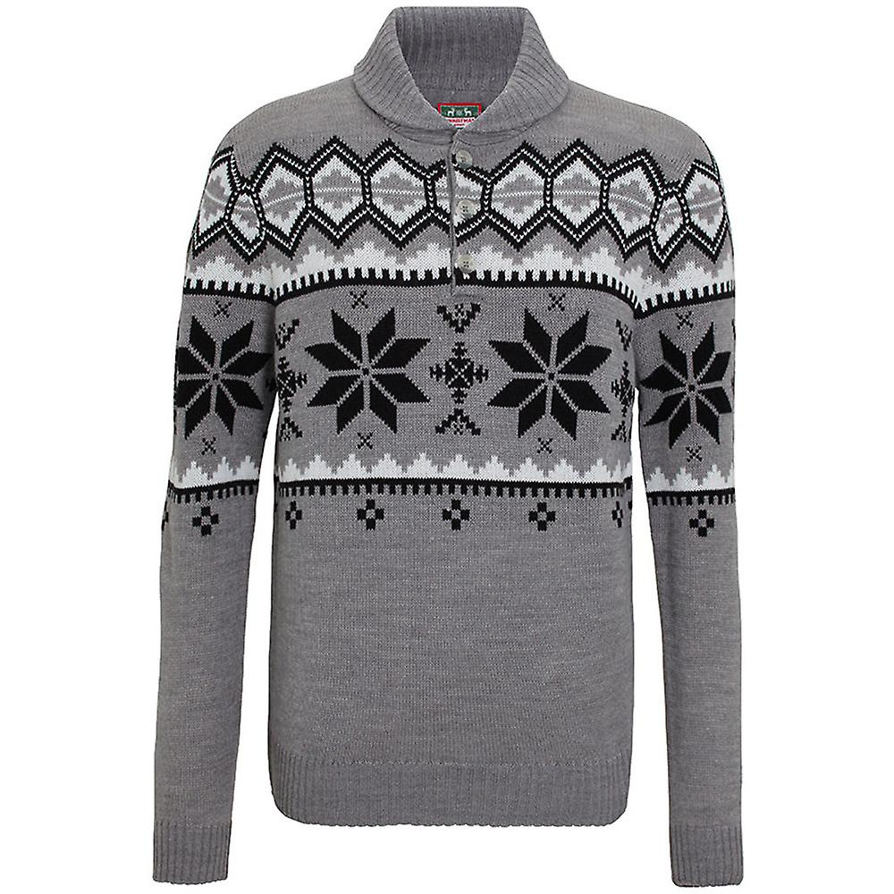Christmas Mens Shawl Neck Chunky Knit Nordic Pattern Sweater Jumper