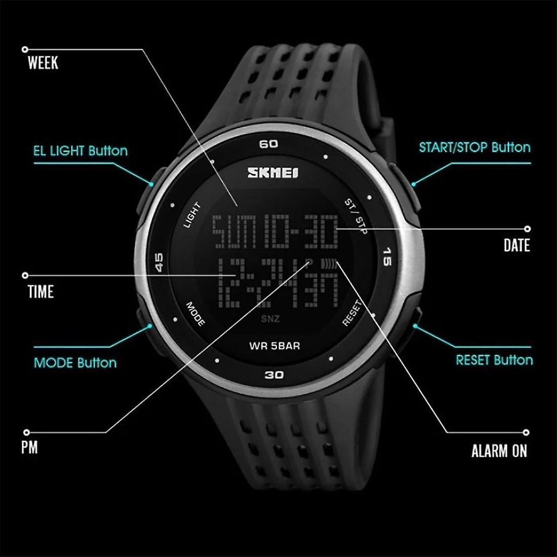SKMEI Mens Large Display Digital Watch Resin Strap Stopwatch Alarm 50m DG1219