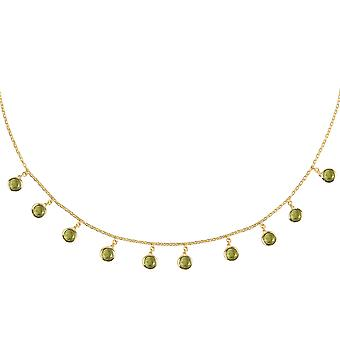 Latelita Gemstone Choker Round Necklace Olive Green Khaki Peridot Gold Silver