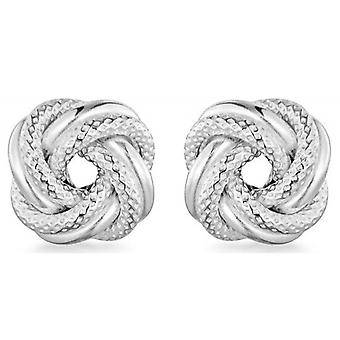 IBB London Textured Knot Stud Earrings - Silver