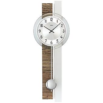 AMS 7438 wall clock quartz with pendulum silver wood walnut colour pendulum clock