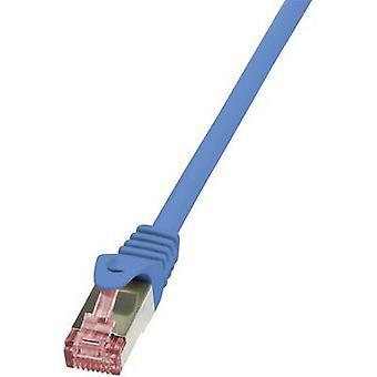 LogiLink RJ45 nätverk kabel CAT 6 S/FTP 7,5 m blå flamskyddade, inkl spärr