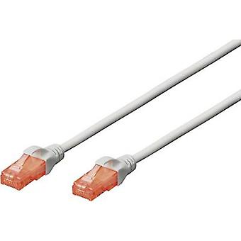RJ45 Networks Cable CAT 6 U/UTP 5 m Grey Halogen-free, incl. detent Digitus Professional