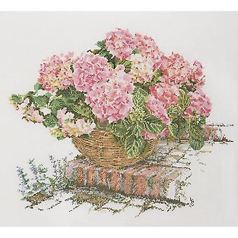 Pink Hydrangea On Aida Counted Cross Stitch Kit-17.5