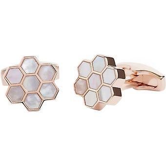 Simon Carter madre de gemelos de oro en forma de panal perla y rosa - blanco/rosa de oro