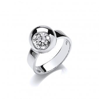 La plata francesa de Cavendish y anillo CZ recipiente