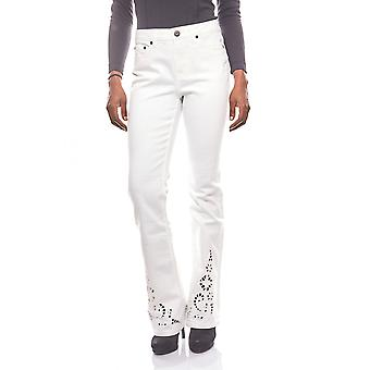 ARIZONA relaxed Bootcut women's jeans with embroidery white