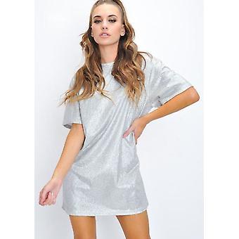 Oversized Glitter Shirt Dress Silver