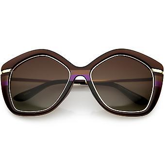 Women's Oversize Chunky Geometric Sunglasses Metal Arms Polarized Lens 55mm