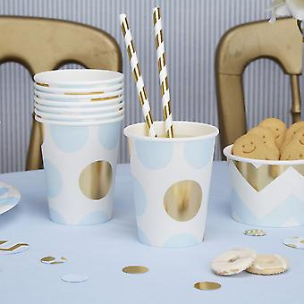 Papier Party Tassen-blau und Gold Dots Baby Shower / Taufe / Partei x 8