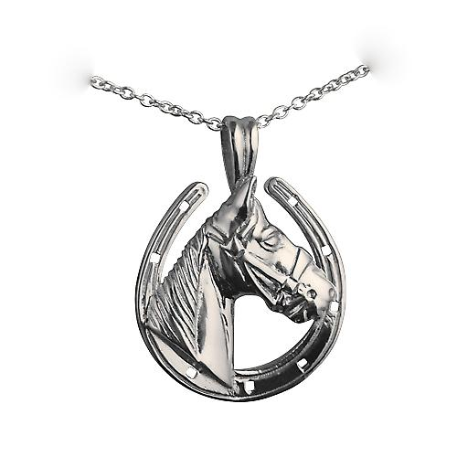 Silver 22x20mm Horse Head in Horseshoe Pendant with a rolo Chain 16 inches Only Suitable for Children