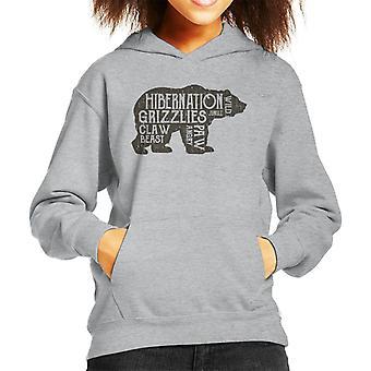 Grizzly Bear Hibernation Kid's Hooded Sweatshirt