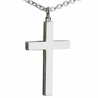 Silver 40x25mm plain solid block Cross with a cable Chain 24 inches