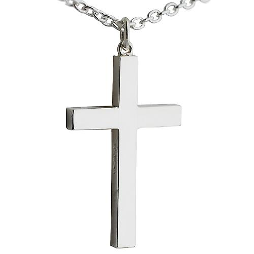 Silver 45x25mm plain block Cross with Cable link chain