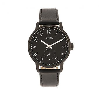 Simplify The 3400 Leather-Band Watch - Black