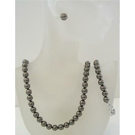 Swarovski Dark Brown Espresso Pearls 8mm Complete Set Necklace Earring