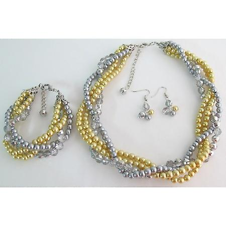 Luxurious Braid Four Strand Yellow Gray Pearls Twisted Necklace Earrings Bracelet