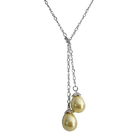 Yellow Oyster Shell Pearls Necklace Wedding Gift