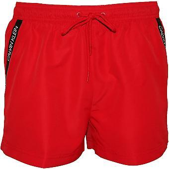 Calvin Klein Angled Logo Tape Swim Shorts, Lipstick Red