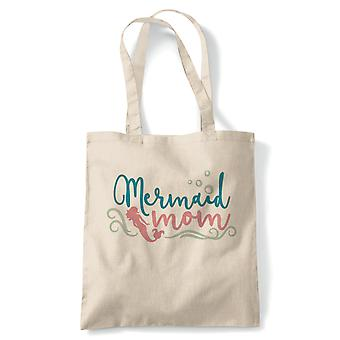 Mermaid Mom Magical Fantasy Tote | Reusable Shopping Cotton Canvas Long Handled Natural Shopper Eco-Friendly Fashion | Gym Book Bag Birthday Present Gift Him Her | Multiple Colours Available