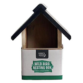 Natures Market BF017HD Deluxe Wooden Wood Wild Bird House Hanging Open Front Entrance Nesting Box