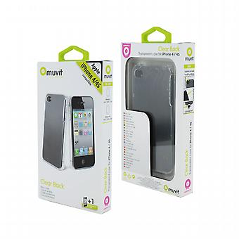 Housse Etui cristal transparent + protecteur d'écran Apple iPhone 4/4 s, Muvit