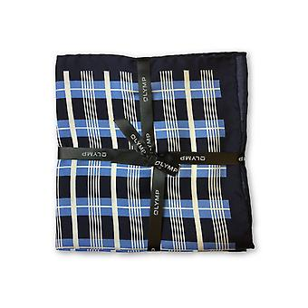 Olymp Pocket Square in blue tartan pattern