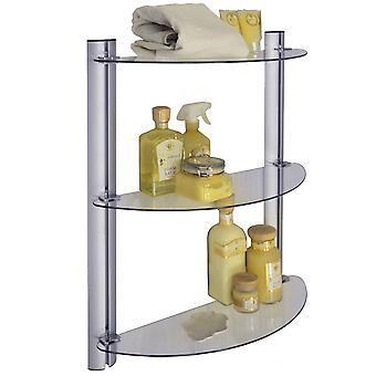Splash - 3 Stufe einstellbar Bad Wand Lagerung Glasböden - Silber