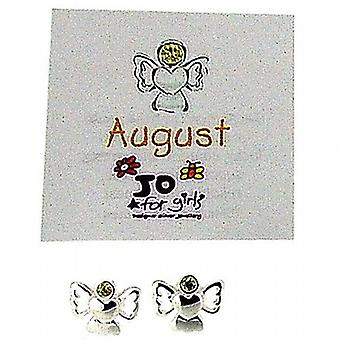 Jo For Girls Sterling Silver August Birthstone Angel Peridot Colour Earrings