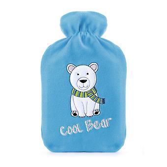 Applique Fleece Blue 2L Hot Water Bottle: Cool Bear