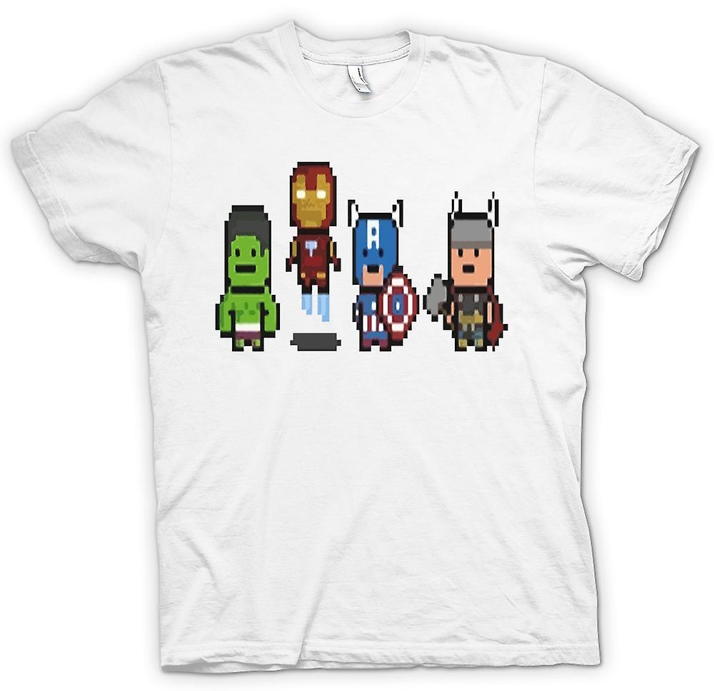 Womens T-shirt - Pixel Avengers - Cool Superheroes - Hulk - Iron Man - Captain - Thor