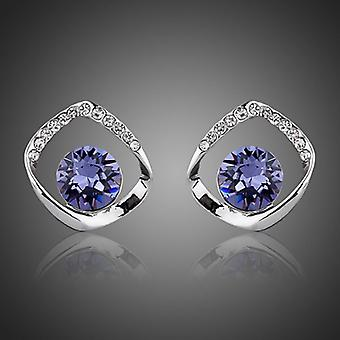 18K White Gold Plated Purple Stellux Austrian Crystals Stud Earrings, 1.2cm