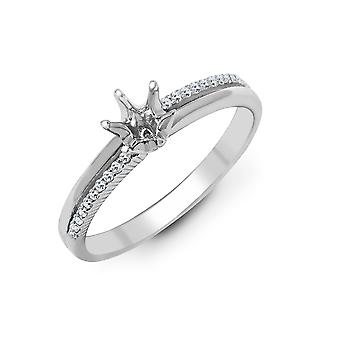 Jewelco London Solid 18ct White Gold Pave Set Round G SI1 0.09ct Diamond Semi Set Mount Engagement Ring 6mm