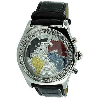 Watch Round Face Iced Out World Multi Color Black Leather Strap Mens Wh0110