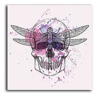 Canvas, Picture on canvas, Skull and dragonfly