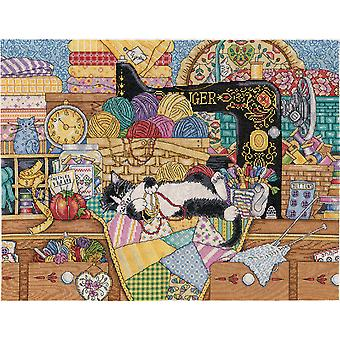 Kitty Sewing Lesson Counted Cross Stitch Kit-16