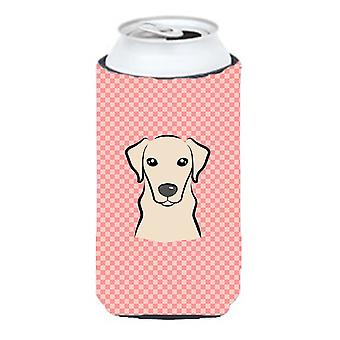 Checkerboard Pink Yellow Labrador Tall Boy Beverage Insulator Hugger BB1222TBC