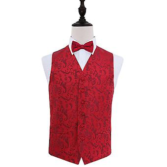 Burgundy Passion Floral Patterned Wedding Waistcoat & Bow Tie Set