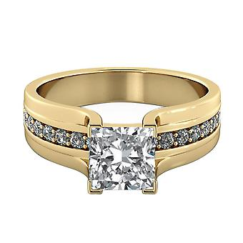 1.6 Carat H VS2 Diamond Engagement Ring 14K Yellow Gold Solitaire w Accents Bridge Princess
