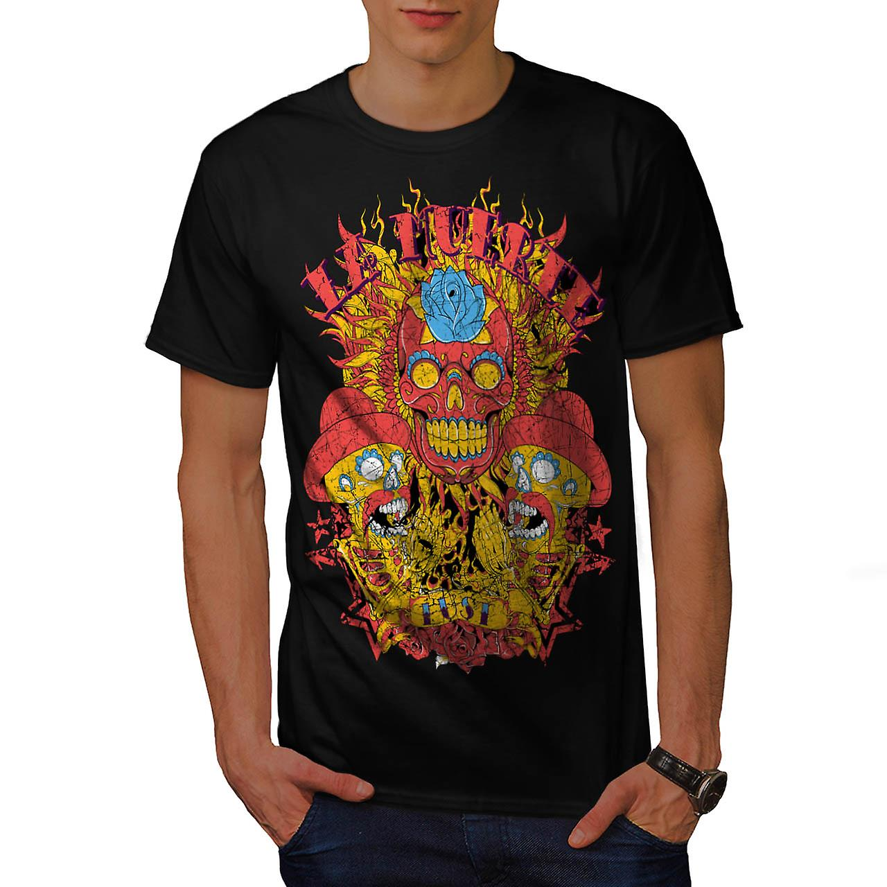 Muerte Lust Skull Hat Mexican Men Black T-shirt | Wellcoda