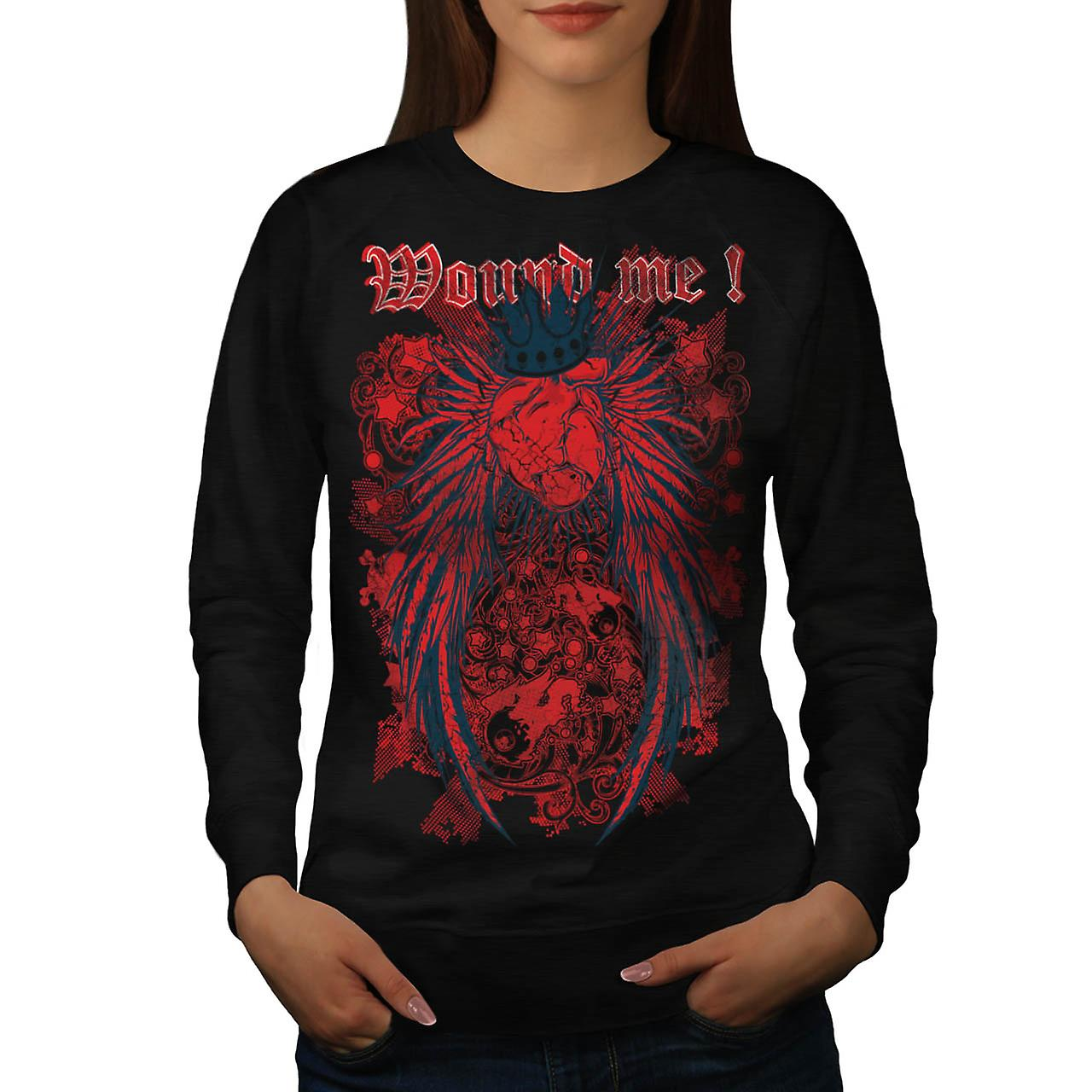 Wounded Heart Art Fashion Love Queen Women Black Sweatshirt | Wellcoda