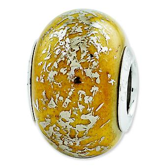 Sterling Silver Reflections Yellow With Platinum Foil Ceramic Bead Charm - In Ceramic