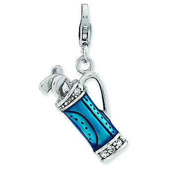 Sterling Silver Rhodium-plated Fancy Lobster Closure Enameled 3-d Golf Bag and Clubs With Lobster Clasp Charm