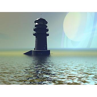 A lighthouse beacon on an alien planet Poster Print