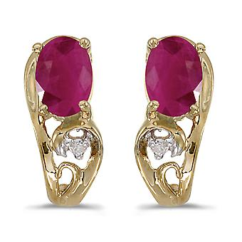 10k Yellow Gold Oval Ruby And Diamond Earrings
